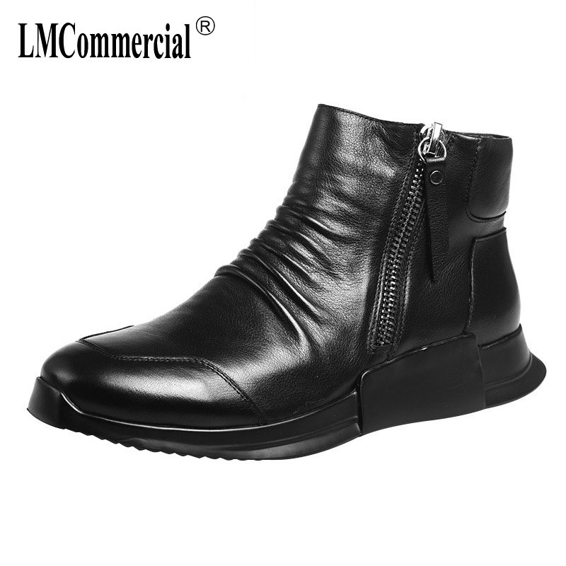 Autumn new high-top shoes men leather British reto men's casual shoes Martins boots male short boots all-match cowhide casual autumn autumn men leather shoes mens 2017 new casual shoes all match thick solid rivets breathable sneaker handmade fashion