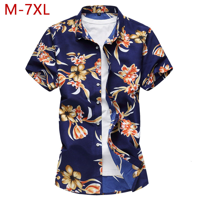 M-7XL Plus Size Casual Slim Fit Shirt For Men Summer Hot Big Size Male Thin Cotton Linen Short Sleeve Hawaii Dress Beach Shirt