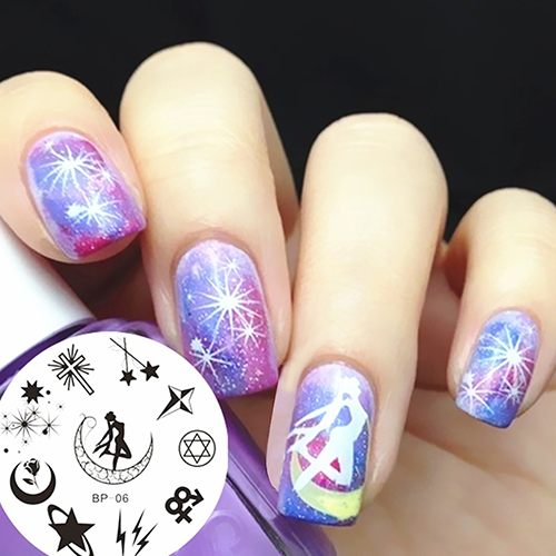 Fashion Nail Art Decor Moon Flower Star Image Stamp Stamping Plate