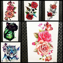 Women Large Rose Peony Flower Temporary Tattoo Sticker 21x15CM Water Transfer Waterproof Fake Flash Tattoo Body Art Tatoo Arm
