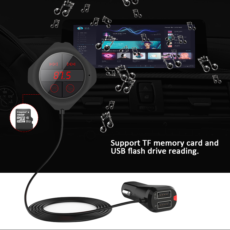 ANLUD Bluetooth Handsfree Car Kit Wireless FM Modulator Magnetic Sticker Dual USB Charge FM Transmitter Bluetooth Car MP3 Player