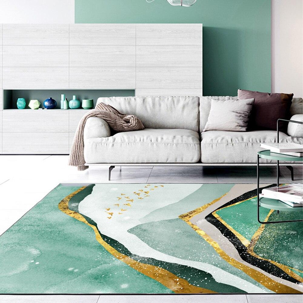 Image 2 - Nordic abstract dark green golden texture home bedroom bedside entrance elevator floor mat sofa coffee table anti slip carpet-in Carpet from Home & Garden