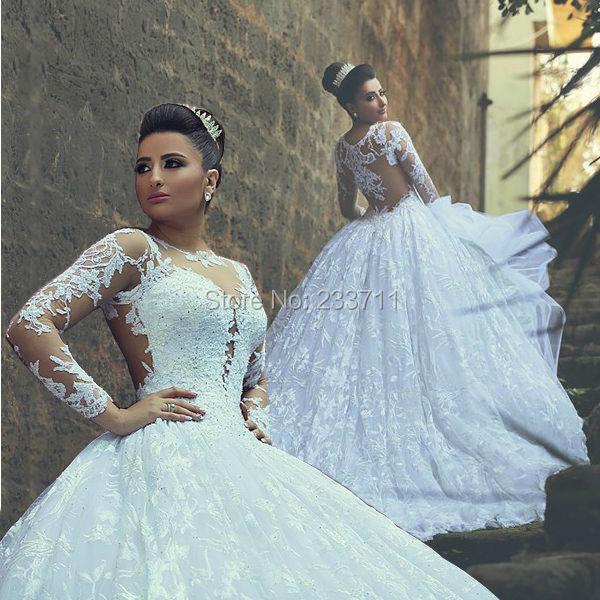 Tull Lace Beaded Ball Gown Long Sleeve Sheer Victorian Gothic Wedding Dresses 2017 Vestido De Noiva Zipper Up Court Train K5738