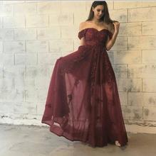 2017 Sexy Abendkleid Abendkleid Burgund Weinrot A-linie Neue Ankunft Günstige Appliques Lange Abschlussball-kleider Party Kleid Kleid