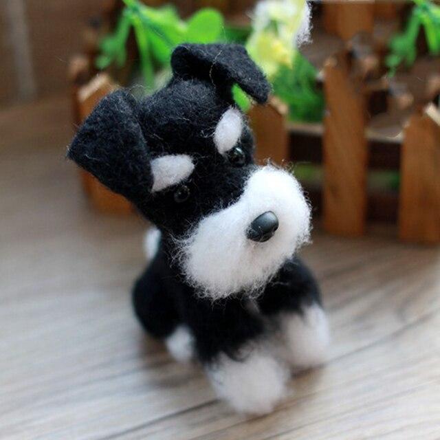 1 Set Non Finished Felting Poked Free Shipping Wool Felt Poked Set Handmade DIY Black Dog Felt for Needle Material Bag