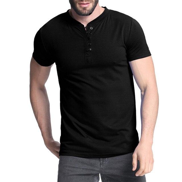 09d861759 Men's Henley Shirt 2018 Summer Plian Tee Tops Short Sleeve Stylish Slim Fit  Bodybuilding T-shirt Casual Top Men Male T-shirts