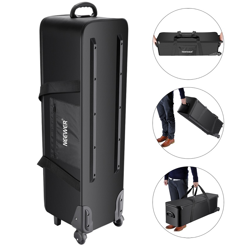 Neewer Photo Studio Equipment Rolling Bag Trolley Carrying Case with Padded Compartment for Light Stand Tripod Strobe Light colourful sheet folding music stand metal tripod stand holder with soft case with carrying bag free shipping wholesales