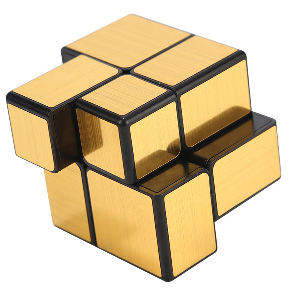 QiYi 2x2 Cube Mirror 2x2x2 Magic Cube 2 Layers Gold And Silver Sticker Speed Cube Professional Puzzle Toy For Children Kids Gift