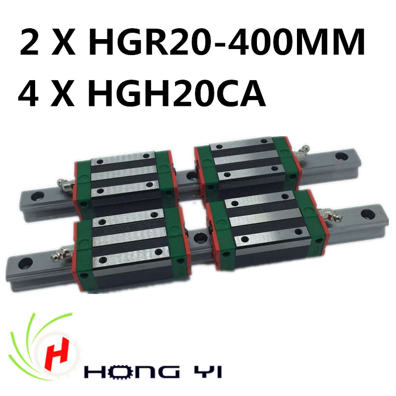HGR20 linear rails, 2pcs HIWIN Carril Linear Rail 400mm + 4pcs Rail Linear Block HGW20CA HGH20 for CNC 2pcs hiwin carril linear rail 800mm linear rails hgr20 4pcs rail linear block hgw20ca hgh20ca for cnc