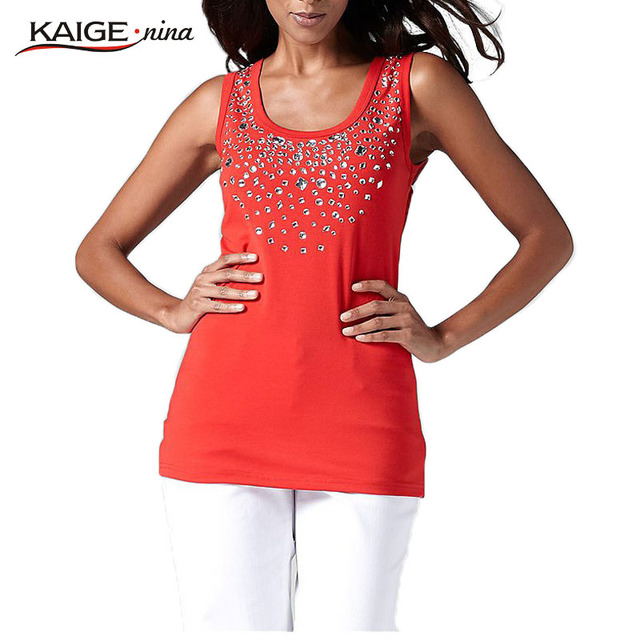 KaigeNina Новый горячий  Свободные алмазная паста вскользь и удобно модные блузы с простыми буравами майка1059