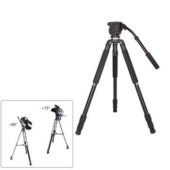 JY0509A Aluminum Alloy Camera Tripod DSLR Photography Camera Camcorder Video Tripod with Fluid Drag BallHead QR Plate Padded Bag