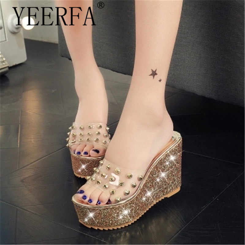 woman summer sandals Transparent clear crystal sequins platform wedge thick  sole s high heels mules gold ebc39cb9ad61