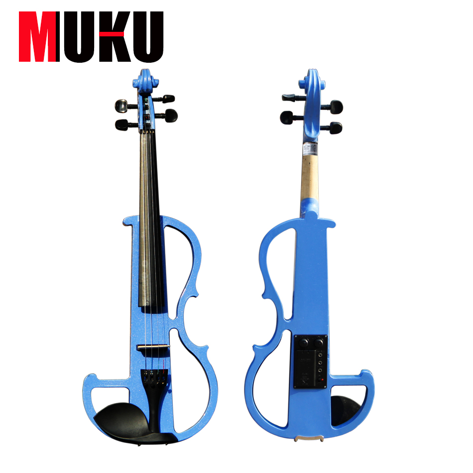 Handmade  4/4 BlUE  violin electric violin with power lines and violin parts with high quality and bag free shipping high quality 4 4 violin send violin hard case handmade white black electric violin with power lines
