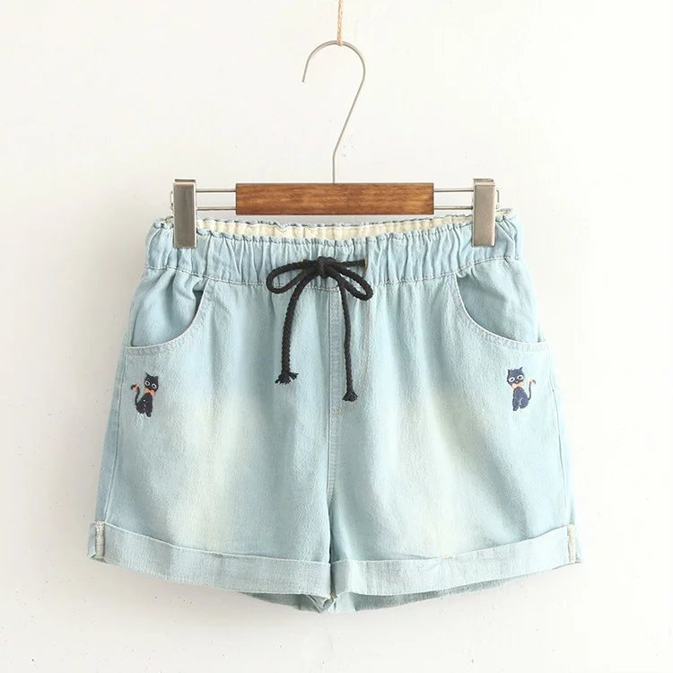 Japanese Small Fresh And Lovely Cartoon Denim Shorts Ladies Casual Mid Waist Jeans Shorts Femme Kitten Embroidery Shorts Summer