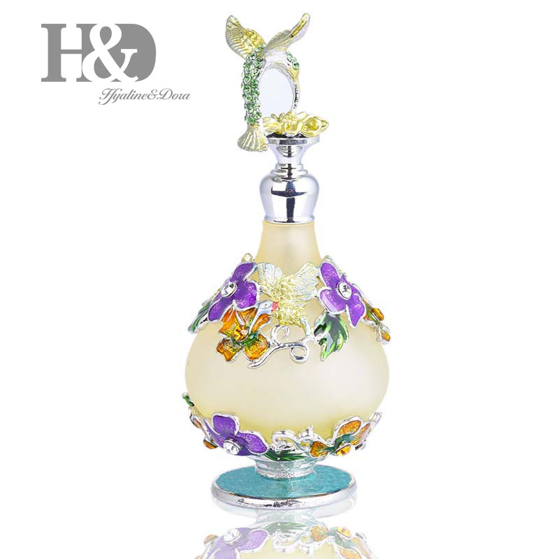 H&D 25ml Refillable Decorative Glass Perfume Bottle W/Fancy Retro Frosted Design Vintage Empty Bottle W/Hummingbird Figurine