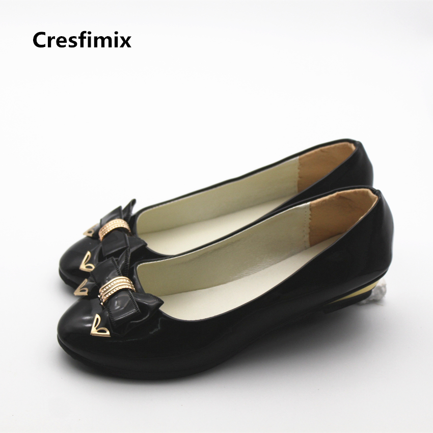 Cresfimix chaussures plates pour femmes women cute soft pu leather comfortable flat shoes lady casual bow tie office black shoes cresfimix sapatos femininas women casual soft pu leather flat shoes with side zipper lady cute spring