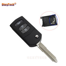 OkeyTech Uncut Blade for Mazda 2 3 5 6 RX8 MX5 cx-7 Flip Folding Remote Car Key Fob Case Replacement Shell with Batter Holder