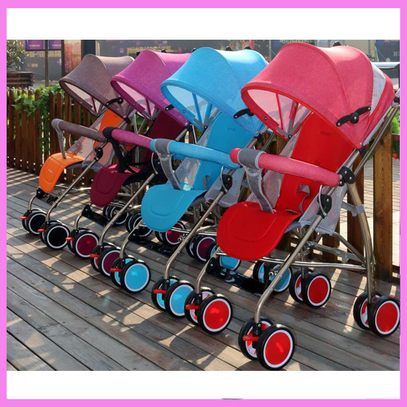 Summer Umbrella Sunshade Lightweight Baby Stroller Light Pram Can Lie Sit Four Wheel Trolley Folding Shock Absorber Car Buggy