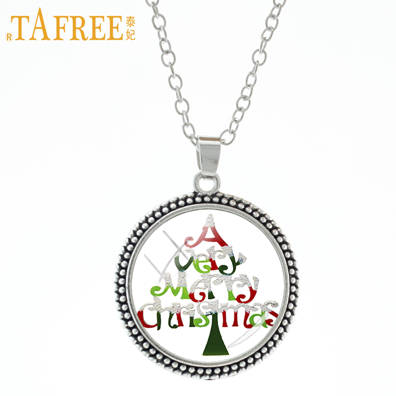 TAFREE novelty fashion Merry Christmas tree pendnant necklace happy new year gifts men women kids gifts statement jewelry J163