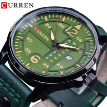 CURREN Green Genuine Leather Belt Sport Design Calendar Display Mens Military Quartz Wrist Watches Top Brand Luxury Male Clock forsining tourbillion design genuine leather calendar display obscure dial mens clock top brand luxury automatic wrist watches