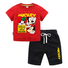 5c64dfc88f6b6 Kids Tracksuit 2019 Summer Children Cartoon Mickey Mouse T-Shirts+Shors  Sport Suit For Boys Girls ...