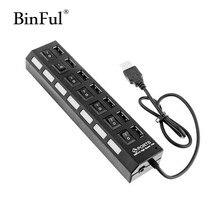 BinFul 7 Ports High Speed USB Hub 480 Mbps USB 2.0 Hub On/Off Switch Hub Splitter For PC Laptop Computer Peripherals Accessories