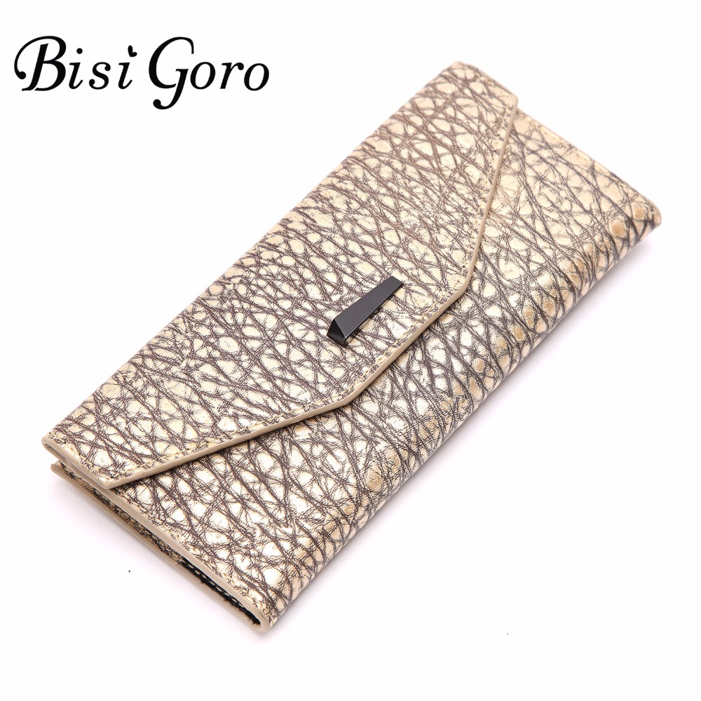 Bisi Goro 2018 Hot Sale Women Lady Vintage Long Wallets Purse Veins Female Cowhide Leather High Capacity Coin Card Clutch Bag xgravity hot sale original vintage lady
