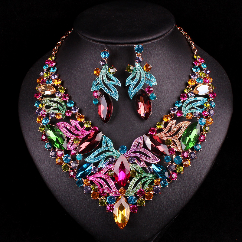 Luxury Bridal Jewelry Sets Wedding Necklace Earring For Brides Party Accessories Gold Plated Leaf Flowers Decoration