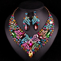 Luxury Bridal Jewelry Sets Wedding Necklace Earring For Brides Party Accessories Gold Plated Leaf Flowers Decoration Gift Women