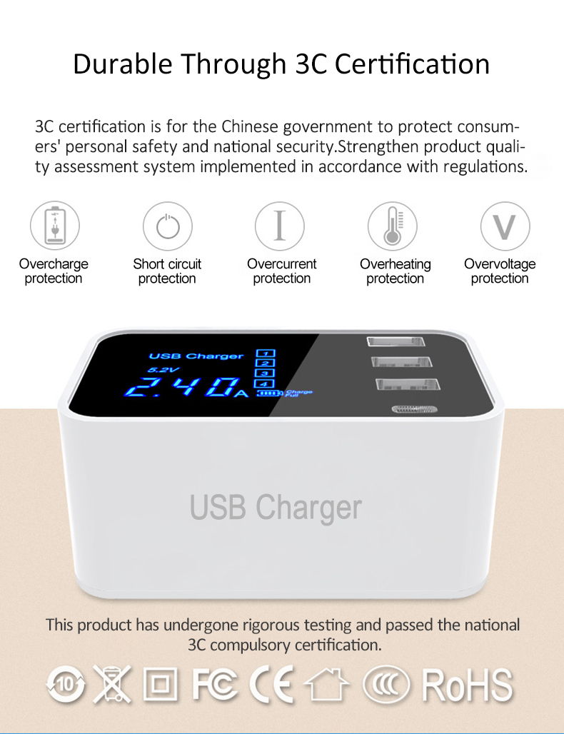 Quick Charge 2.0 Smart Type C USB Charger HUB Station (6)