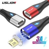 USLION Schnelle Lade Magnetische Kabel 1M Micro USB Typ C Für iPhone Samsung Xiaomi 3A Microusb Typ-C magnet Ladegerät Datenkabel
