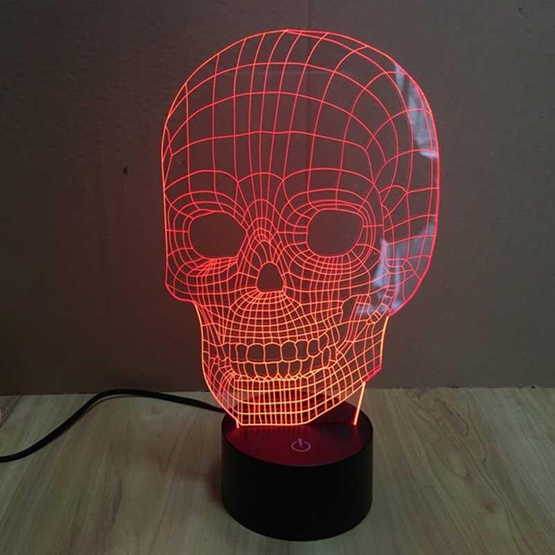 Changeable Colors LED Skull Head Illuminated Skull Illusion Sculpture Desk Indoor Lighting Lamp individuation Night Lights AA
