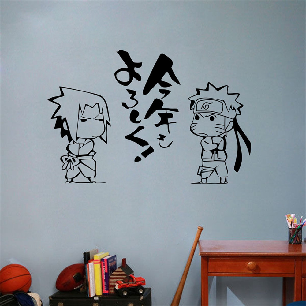 US $9 59 OFF Japanese Cartoon Naruto Vinyl Wall Sticker Anime Uzumaki Uchiha Sasuke Art Wall Decal Kids Room Bedroom Home Decoration Wall
