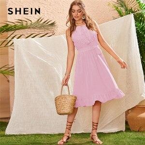 Image 4 - SHEIN Geel Lace Panel Ruche Zoom Belted Zomer Boho Midi Vrouwen Jurk Mouwloze Hoge Taille Dames Fringe Fit en Flare jurken