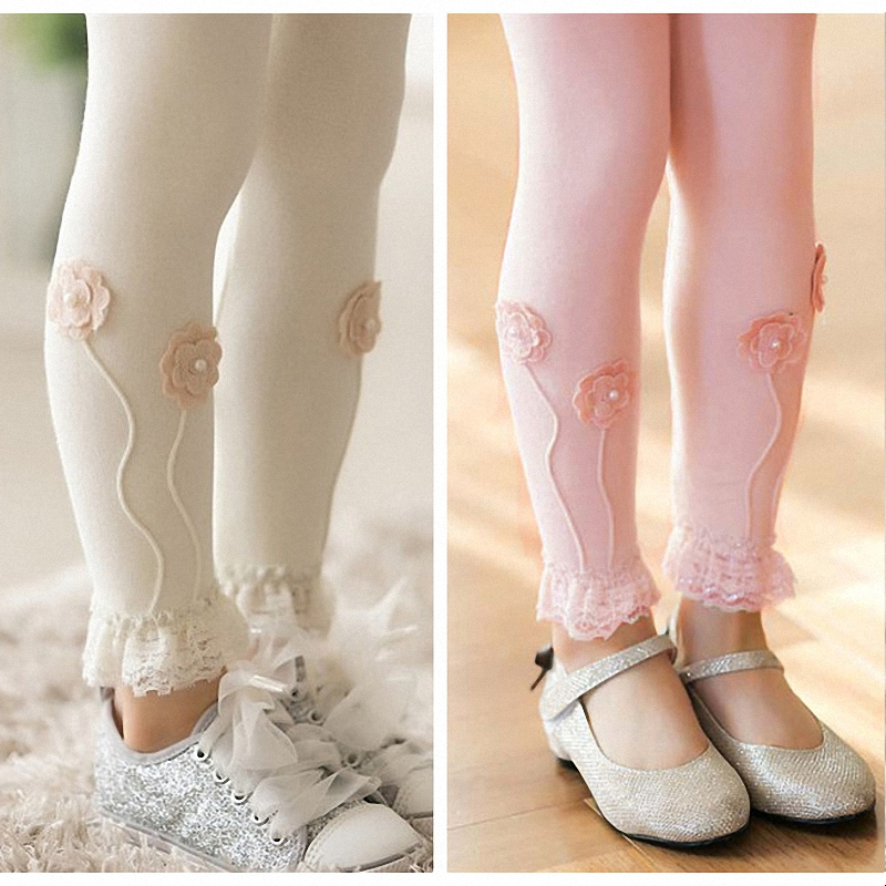 children girls flowers lace trim princess cotton skinny leggings kids fall spring casual ruffle leggings clothes 3T to 10T ruffle trim open shoulder dot blouse