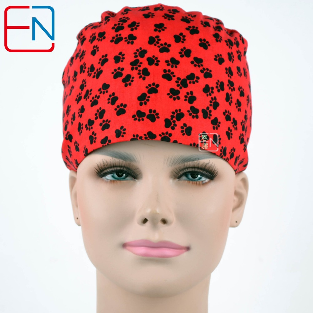 Hennar Brand Unisex Surgical Caps/hat  In Red With Black Feet Prints
