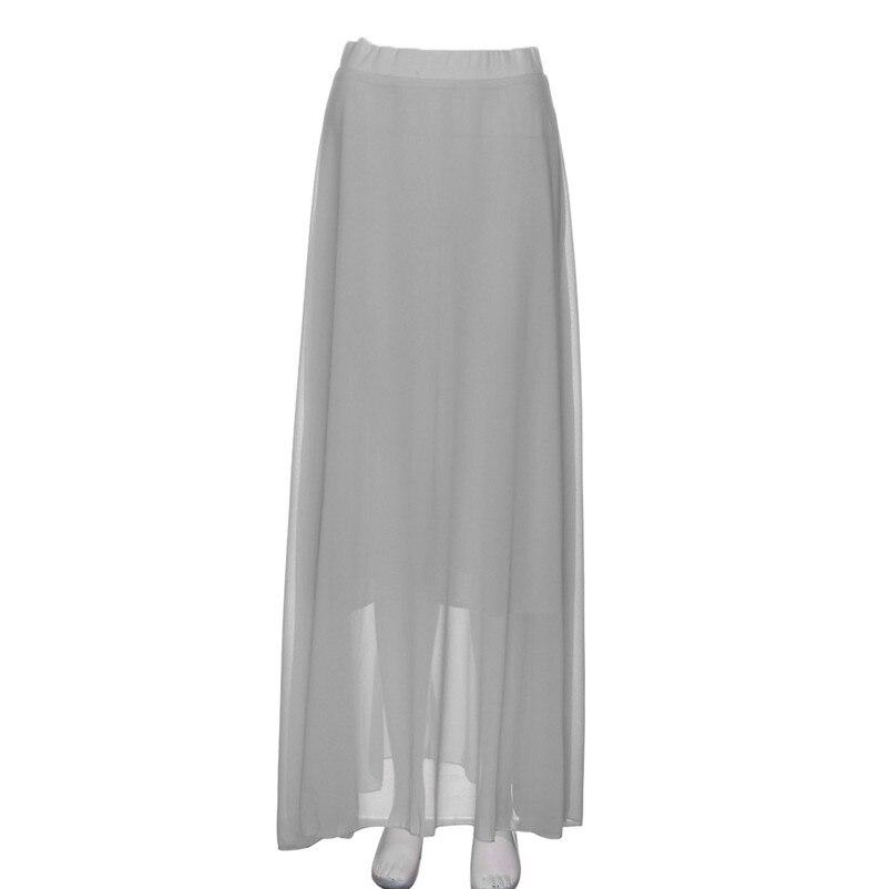 HOT sell Fashion 2018 Summer style skirts womens Chiffon Stretch High Waist Maxi Skater Flared Pleated Long Skirt Saia Y05#N (12)