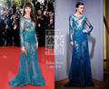 Frederique Bel 's Cannes Red Carpet Celebrity Dress Long Sleeves Sexy See Through Beads Sequin Zuhair Murad Evening Gowns