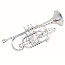 Bb латунь cornet труба инструмент посеребренный с Чехол и мундштук, музыкальные инструменты Профессиональная медная труба