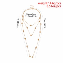 Multi Layer Star Tassel Choker Necklace For Women Personality Statement Collares Gold-Color Sky Elements