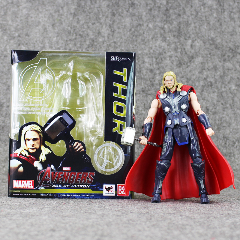 16cm Super Hero Avengers SHF S.H.Figuarts Thor with Hammer PVC Action Figures Model Toys Doll Collection Gifts For Kids high quality the avengers thor cosplay hammer thor s hammer action figure super hero collection toy ems free shipping