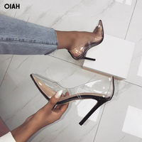 Hot Summer Shoes Clear PVC Sandals Perspex Heel Stilettos High Heels Point Toes Womens Party Shoes Nightclub Pumps 36 41