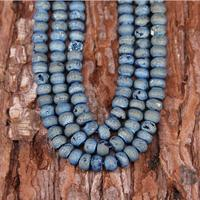 38pcs/strand,Wholesale Mystic Titanium Blue Druzy Achate Rondelle Loose Beads,Rough Matte Natural Drusy Achate Abacus Beads