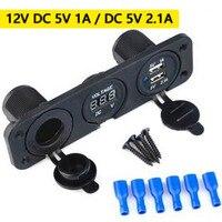 NEW SALE Car Auto 12V 2 USB Cigarette Lighter Sockets Adapter Blue LED Charger Voltmeter Free