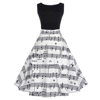 2018 Musical Notes Print Vintage Dress Women Retro Rockabilly Sleeveless Patchwork Aline Party Dresses Feminino Vestidos