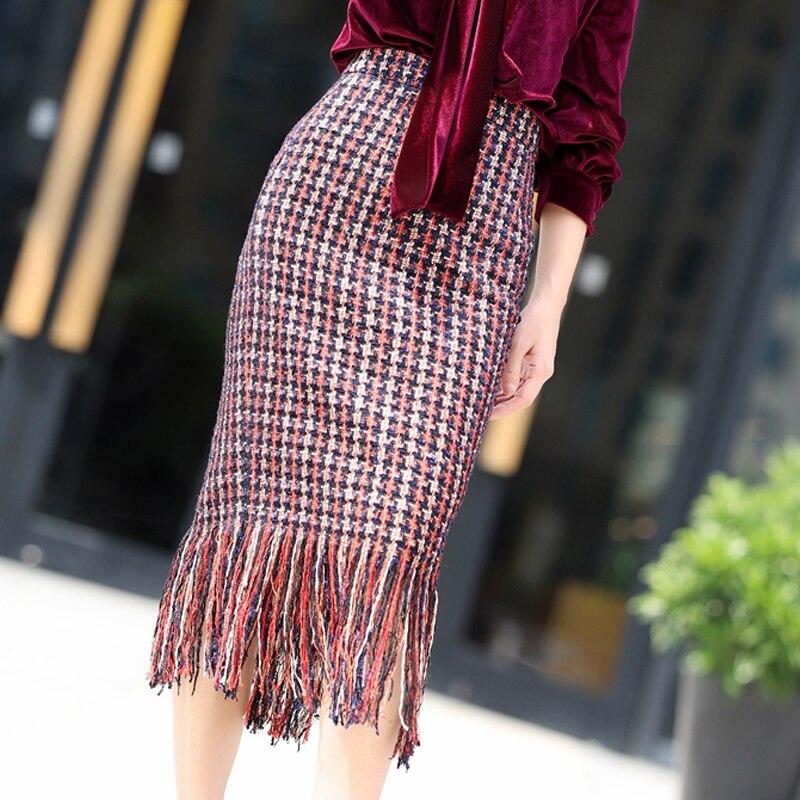 United Red Plaid Tweed Skirts Long Tassel 2019 Spring And Autumn Womens Skirts Ladies High Waist Retro Bag Hip Skirt Skirts