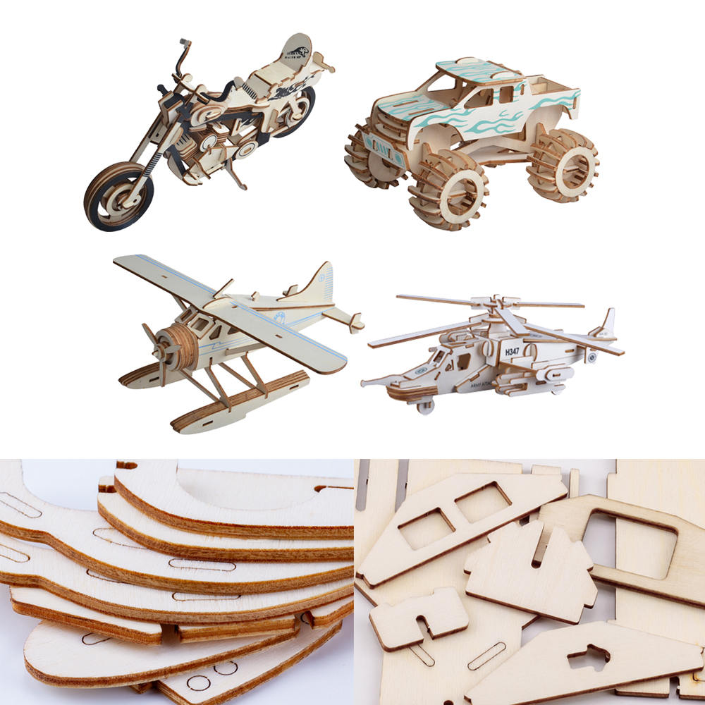 DIY 3D Wooden Puzzle Educational Toys For Children Owl Car Motorcycle Aircraft House Model Assembly Toy Gift For Boys Girls