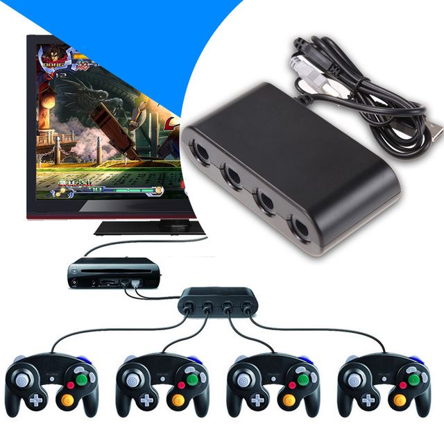 2016 High Quality Game Cube Controller Adapter Converter for Nintendo Wii U SUPER SMASH BROS Free Shipping A#V9