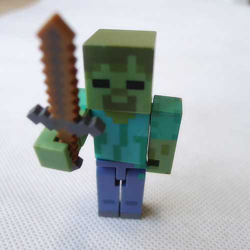 "<font><b>Minecraft</b></font> Overworld 3"" <font><b>Action</b></font> <font><b>Figure</b></font> <font><b>Zombie</b></font> with Sword By Jazwares Loose"