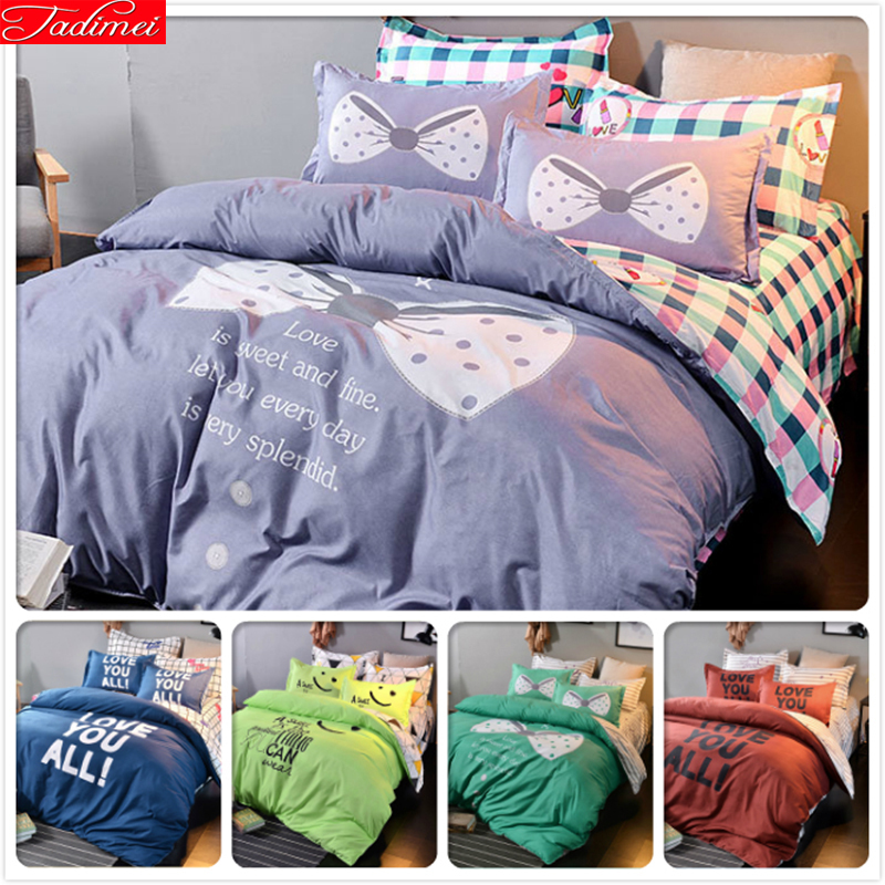 Aoel Cotton Quality Bedlinens 4pcs Bedding Sets Kids Single Double Queen King Size Duvet Cover 1.5m 1.8m 2m 2.2m Flat Sheet Beds Be Friendly In Use Solar